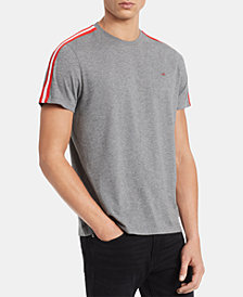 Calvin Klein Men's Striped Sleeves Solid T-Shirt