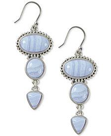 Lucky Brand Silver-Tone Stone Triple Drop Earrings