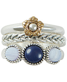 Lucky Brand Two-Tone 3-Pc. Set Stone, Flower & Link Stack Rings