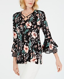 JM Collection Embellished Bell-Sleeve Top 9a9c2cdcf