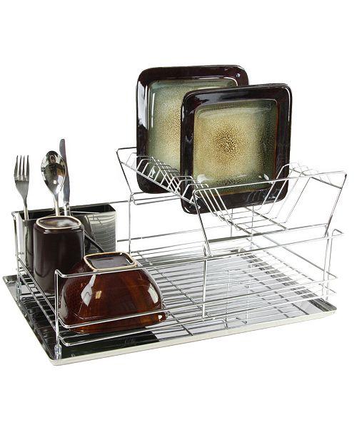"MegaChef 15.5"" Stainless Iron Shelf Dish Rack"
