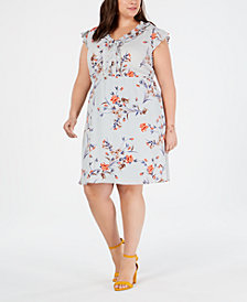 Monteau Trendy Plus Size Floral-Print Ruffled Dress