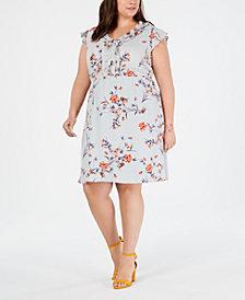 Monteau Trendy Plus Size Floral-Print Ruffled Dress