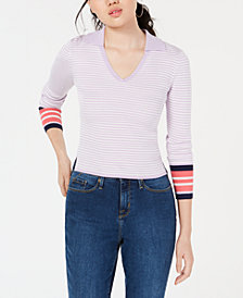 Freshman Juniors' Contrast Striped Polo Sweater
