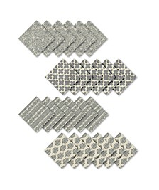 Assorted Gray Print Cotton Napkins, Set of 24
