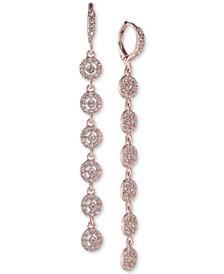Crystal Halo Linear Drop Earrings