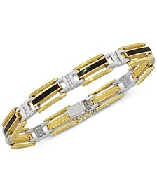 Men's Onyx and Diamond (1/2 ct. t.w.) Bracelet in 10k Yellow & White Gold