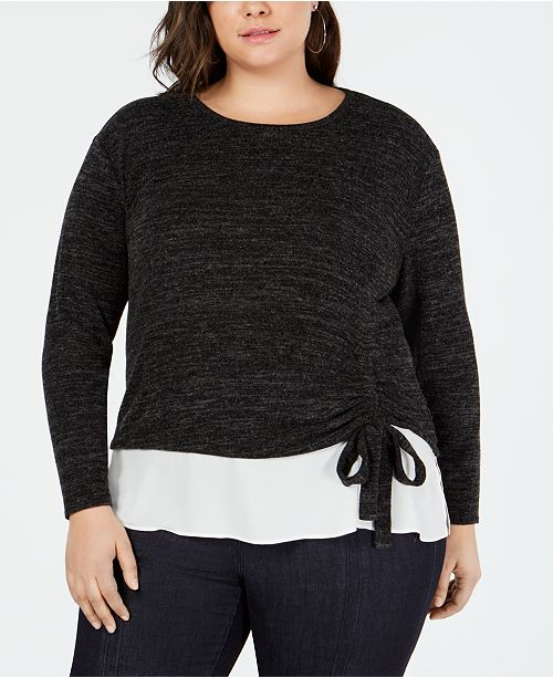 INC International Concepts I.N.C. Plus Size Ruched Two-Piece Top, Created for Macy's