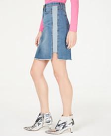 I.N.C. Curvy Raw-Hem Jean Skirt, Created for Macy's