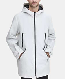 DKNY Men's 3/4-Length Hooded Rain Coat, Created for Macy's