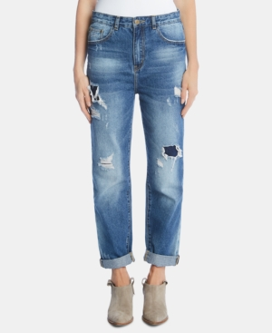Karen Kane Jeans COTTON DISTRESSED HIGH-RISE JEANS