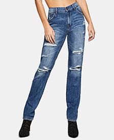 BCBGeneration Lace-Inset Boyfriend Jeans