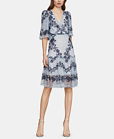 BCBGMAXAZRIA Embroidered Lace Fit & Flare Dress