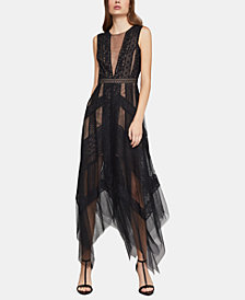 BCBGMAXAZRIA Asymmetrical Striped-Lace Dress
