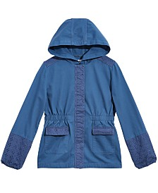 Epic Threads Big Girls Hooded Mixed Media Cotton Jacket, Created for Macy's