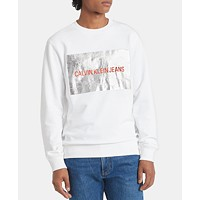 Deals on Calvin Klein Jeans Mens Box Foil Logo Sweatshirt