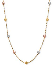 "Tricolor Textured Ball Link 18"" Statement Necklace in 14k Gold, White Gold, & Rose Gold"