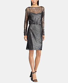 American Living Metallic Floral-Lace Dress