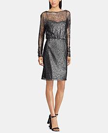 American Living Metallic Floral-Lace Dress