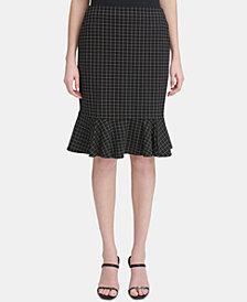 Calvin Klein Windowpane Plaid Ruffled Pencil Skirt