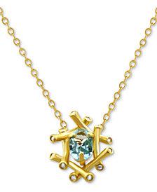 "Kesi Jewels Sky Blue Topaz (3/4 ct. t.w.) & Diamond Accent 16"" Pendant Necklace in 14k Gold"