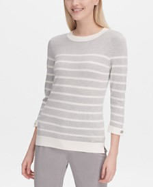 Calvin Klein Striped Cuffed-Sleeve Sweater