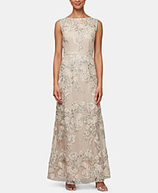 Alex Evenings Petite Embroidered Mesh Gown