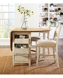 Trisha Yearwood Coming Home Drop Leaf Dining 3-Pc. Set (Dining Table & 2 Counter Stools)