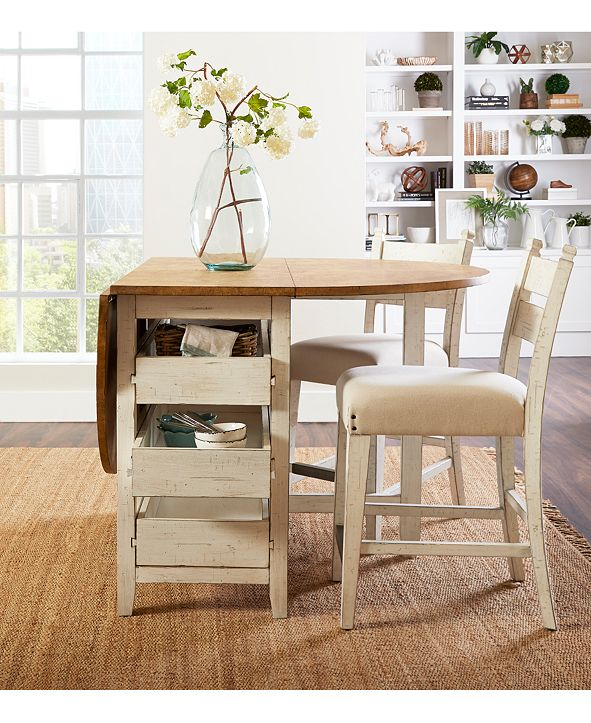 Furniture Neighbors Drop Leaf Dining Furniture, 3-Pc. Set (Dining Table & 2 Counter Stools)
