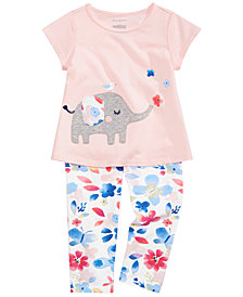 First Impressions Baby Girls Elephant Graphic T-Shirt & Floral-Print Leggings Separates, Created for Macy's