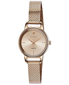 Citizen Women's Quartz Rose Gold-Tone Stainless Steel Mesh Bracelet Watch 26mm