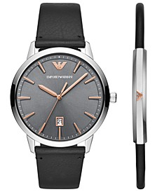 Men's Black Leather Strap Watch 43mm Gift Set