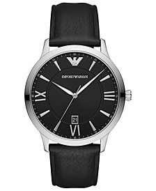 Men's Black Leather Strap Watch 44mm