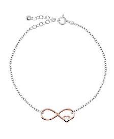 Bodifine Two Tone Plated Sterling Silver Infinity Anklet