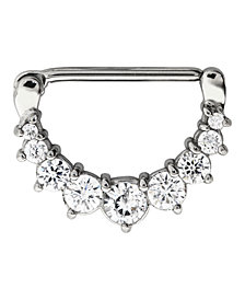 Bodifine Stainless Steel Crystal Nine Stone Clicker Nipple Ring