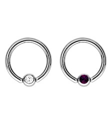 Bodifine Stainless Steel Set of 2 Crystal Eyebrow Rings