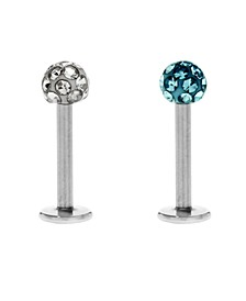 Bodifine Stainless Steel Set of 2 Crystal Ball Tragus
