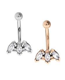 Bodifine Stainless Steel Set of 2 Colors Marquise Crystal Tragus