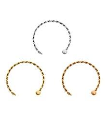 Bodifine 10K Gold Set of 3 Colors Nose Hoops