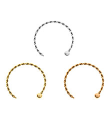 Bodifine 9 Carat Gold Set of 3 Colors Nose Hoops