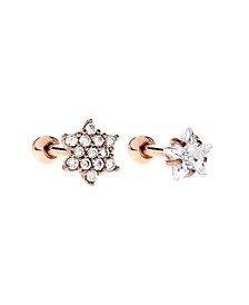 Bodifine Rose Gold Plated Stainless Steel Set of 2 Cz Tragus