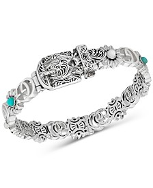 Gucci Multi-Gemstone Buckle Bangle Bracelet in Sterling Silver YBA552422001017