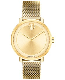 Women's Swiss BOLD Gold-Tone Stainless Steel Mesh Bracelet Watch 34mm