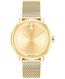 Movado Women's Swiss BOLD Gold-Tone Stainless Steel Mesh Bracelet Watch 34mm