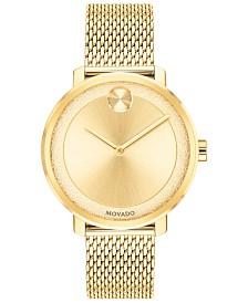Movado Women's Swiss BOLD Gold-Tone Stainless Steel Mesh Bracelet Watch 34mm