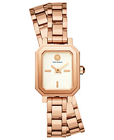 Tory Burch Women's Robinson Rose Gold-Tone Stainless Steel Double Wrap Bracelet Watch 22mm