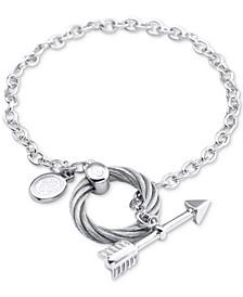 Arrow, Disc & Cable Ring Link Bracelet in Sterling Silver & Stainless Steel