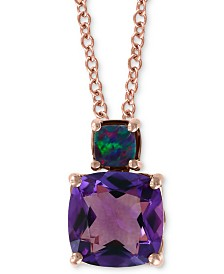 "EFFY® Amethyst (2-3/4 ct. t.w.) & Blue Opal (1/5 ct. t.w.) 18"" Pendant Necklace in 14k Rose Gold"