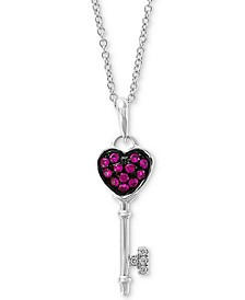 "EFFY® Certified Ruby (1/8 ct. t.w.) & Diamond Accent 18"" Key Pendant Necklace in 14K White Gold"
