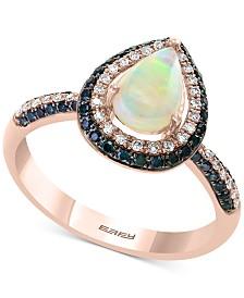 EFFY® Opal (3/8 ct. t.w.) & Diamond (3/8 ct. t.w.) Ring in 14k Rose Gold